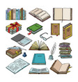 books stack of textbooks and notebooks on vector image