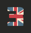capital number three with uk flag texture vector image