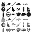 car vehicle black icons in set collection for vector image