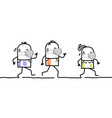 cartoon people running and sporting vector image