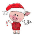 cartoon pig in santa hat on a white background vector image vector image
