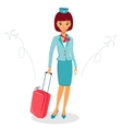 Cheerful cartoon flight attendant in uniform with vector image vector image