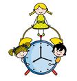 Children with an alarm clock vector image