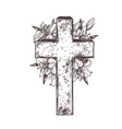 christ stone crosse with wreath white flowers l vector image vector image