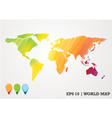 colorful paper cut world map water color abstract vector image vector image