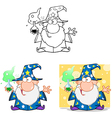Crazy Wizard Holding A Magic Potion Collection vector image vector image