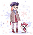 cute girl with dog vector image