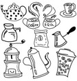 drawn picture with coffee and tea stuff vector image vector image