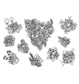 e a set of flowers Doodle vector image