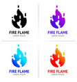 fire flames with sparks colored set vector image vector image