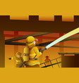 firefighters putting out the building on fire vector image