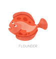 flat icon bright red flounder vector image vector image