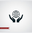 globe on hand icon simple vector image vector image