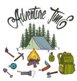 hand drawn icon orange camping vector image
