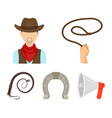 hand lasso cowboy horseshoe whip rodeo set vector image
