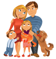 Happy family of four and two pets vector image