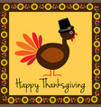 happy thanksgiving turkey with sunflower border vector image vector image