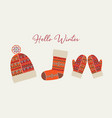 hello winter card boho tribal holiday clothes vector image vector image