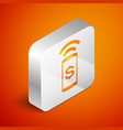 isometric contactless payment icon isolated on vector image