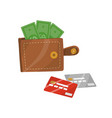 leather wallet with money vector image vector image