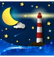 lighthouse storm night vector image