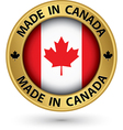 Made in Canada gold label vector image vector image