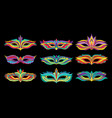 masquerade party mask set carnival face accessory vector image