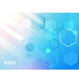 medical care blue background with hexagonal vector image vector image