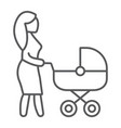 mom with carriage thin line icon care and child vector image