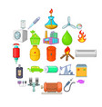 nonrenewable energy icons set cartoon style vector image vector image