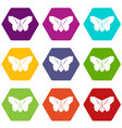 origami butterfly icons set 9 vector image