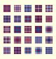 plaid texture set geometric seamless pattern blue vector image vector image