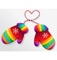 rainbow winter gloves vector image vector image