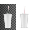 realistic 3d plastic cup with lid and straw mockup vector image