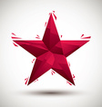 Red star geometric icon made in 3d modern style vector image