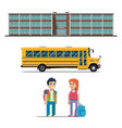 school bus and schoolchild flat vector image vector image