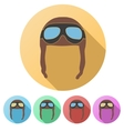 Set Flat icons of Retro aviator pilot helmet with vector image vector image