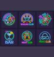 set neon signs vector image