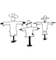 set of scarecrows vector image vector image
