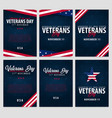 set of veterans day honoring all who served vector image