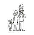 silhouette caricature big family parents with girl vector image