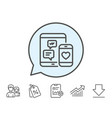 social media messages line icon mobile devices vector image