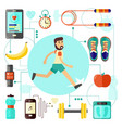 sports and healthy lifestyle banner with jogging vector image vector image