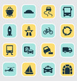 transportation icons set with bus taxi van and vector image