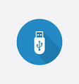 usb Flat Blue Simple Icon with long shadow vector image