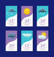 weather forecast banners set temperature cloudy vector image