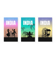 welcome and discover india card templates set vector image vector image