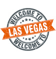 welcome to Las Vegas orange round ribbon stamp vector image vector image