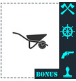 wheelbarrow icon flat vector image vector image