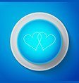 white two linked hearts icon on blue background vector image vector image